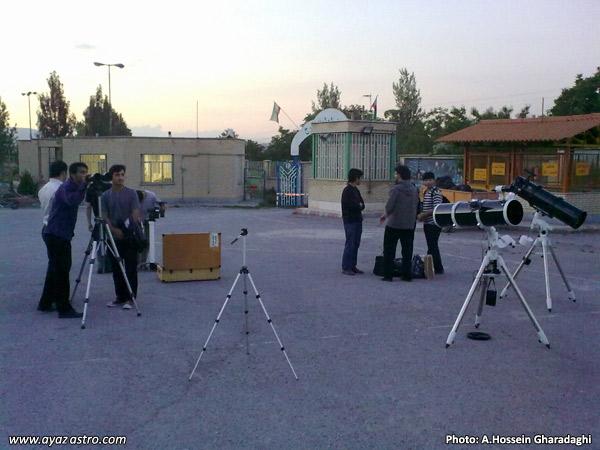 گزارش ماه گرفتگی 25 خرداد - استقرار تلسکوپ ها توسط اعضا