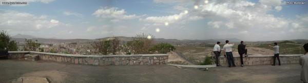 پاناروما از روی تپه پرچم - مکان پیشبینی شده خورشید در طول گذر