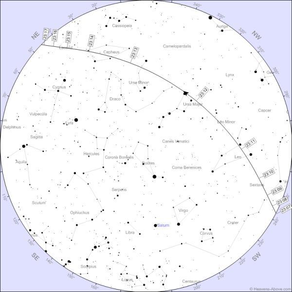 مسیرعبور ایستگاه فضایی در تاریخ 3 ژوئن / دوشنبه 13 خرداد 1392