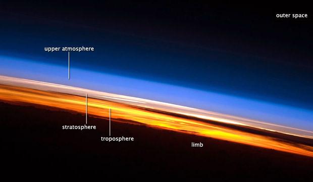 تصویر لایه های اتمسفر از ISS